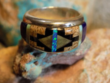 New Unisex Sterling Turquoise Multi Stone Inlay Ring Navajo James Lee Size 8 1/2