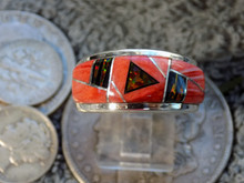 New unisex Sterling Jet Created Opal Inlay Ring Navajo James Lee Size 12