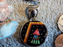 Sterling Silver Night Sky Multi Stone Micro Inlay Pendant Navajo Matthew Jack