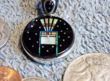 New Sterling Silver Night Sky Headdress Micro Inlay Pendant Navajo Matthew Jack