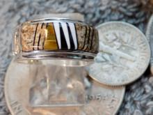 Sterling Jasper Tiger Eye Jet  Micro Inlay Ring Navajo Marty Yazzie Size 6