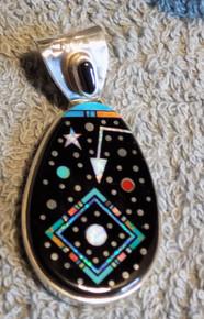 New  Sterling Silver Night Sky  Micro Inlay Pendant Navajo Matthew Jack