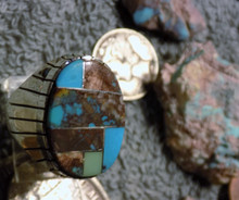 Mens New  Sterling Bisbee Blue Turquoise Inlay Ring Navajo Ray Jack Size 9 1/4