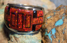 Mens Sterling Silver Jet Created Opal Inlay Ring Navajo Fred Begay Size 11 1/2