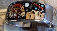 New Sterling Silver Night Sky Micro Inlay Bracelet Navajo Clayton Tom