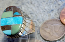 Mens Ring New Sterling Bisbee Blue Turquoise Inlay Size 8 1/2 Navajo Ray Jack