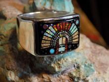 New Sterling Silver Headdress Micro Inlay Ring Navajo Clayton Tom Size 14
