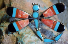 Ladies Sterling Turquoise Spiny Dragonfly Inlay Ring Zuni Anguse Ahiyite Size 8