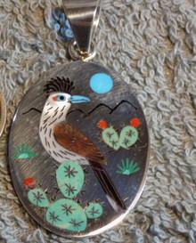 New Zuni Sterling Silver Roadrunner inlay Art Pendant  Rudy & Nancy Laconsello