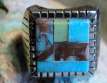 Mens New Sterling Bisbee Blue Turquoise Inlay Ring Navajo Ray Jack Size  10 1/2