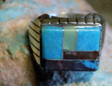 New Mens Ring Size 10 1/4 Sterling Bisbee Blue Turquoise Inlay Navajo Ray Jack