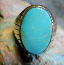 NeMens Size 12 Ring Sterling Silver Kingman Turquoise Inlay Navajo Ray Jack
