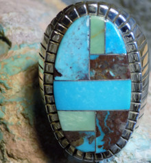 Size 14 1/2 New Mens  Sterling Bisbee Blue Turquoise Inlay Ring Navajo Ray Jack