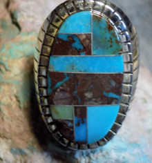 Size 13 1/4 New Mens  Sterling Bisbee Blue Turquoise Inlay Ring Navajo Ray Jack