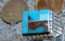 New Mens Ring Size 8 1/2 Sterling Bisbee Blue Turquoise Inlay Navajo Ray Jack
