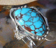 New Sterling silver with Stablized Egyptian Spider Web Turquoise stone SZ 10 1/2    D461