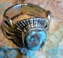 Bisbee Blue Turquoise Sterling Silver Unisex Ring Navajo Russell Sam Size 10