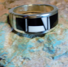 Size 10 Mens Sterling Silver White Buffalo Jet Inlay Ring Navajo Rick Tolino