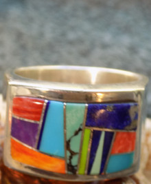 Mens Sterling Turquoise Jet Spiny Inlay Ring Navajo Valerie Yazzie Size 11 3/4