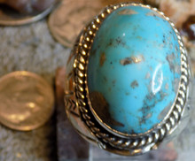 New Mens Sterling Silver Kingman Turquoise Ring Size 1 2 1/2 By Gabriel Jurado