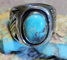 New Sterling Silver Kingman Turquoise Mens Ring Navajo  L James Size 9 1/2