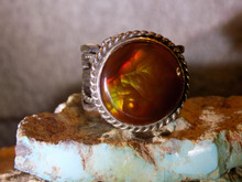 New Fire Agate Sterling Silver Mens Ring by Navajo  Russell Sam Size 10 1/4