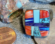 New Heavy Mens Sterling Multi Stone Inlay Ring Navajo Pamela Daniels Size 14