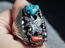 Sterling Silver Mens Turquoise Coral Eagle Ring Navajo Mike Thomas Size 11 1/2