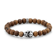 8mm Natural Wood Bead Bracelet with Sterling Silver Skull