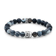 Frosted Agate Buddha Bead Bracelet