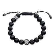 Polished Agate Shamballa Bracelet With Sakura Bead