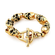 Gold Plated Skull Link Bracelet