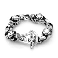 Sterling Silver XL Skull Link Men's Bracelet With Chain