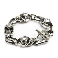 Sterling Silver Men's XL SkullLink with Channel Links