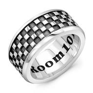 Sterling Silver LG Band Ring - Checker Pattern