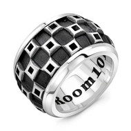 Sterling Silver XXL Band Men's Ring- Tank Checker Pattern