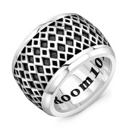 Sterling Silver XXL Band Ring - Diamond pattern