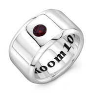Sterling Silver Signet band Ring with Garnet