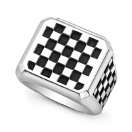 Sterling Silver Checker Block (small pattern) Men's Ring