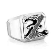 Custom Sterling Silver Monogram Block Rings
