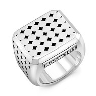 Sterling Silver Coaster Block Men's Ring