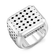 Sterling Silver Coaster Block Men's Ring