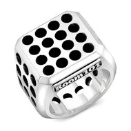 Sterling Silver Ventilation Block Men's Ring