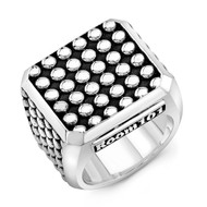 Sterling Silver Orb Block Men's Ring