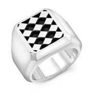 Sterling Silver Diamond Block Men's Ring