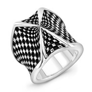 Sterling Silver Checker X2 Ring