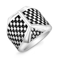 Sterling Silver Checker Talon Ring
