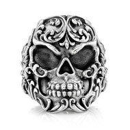 Sterling Silver Men's Filigree Skull Ring