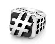 Custom Sterling Silver Hashtag Block Ring