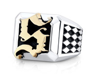 Custom Sterling Silver and Gold Monogram Block Ring
